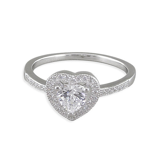 Silver Heart CZ Promise Ring