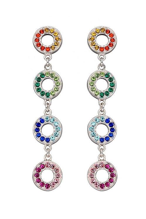 Silver Rainbow cz round drop earrings