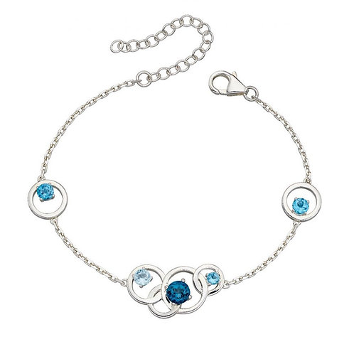 Multi Blue Topaz Circles Bracelet
