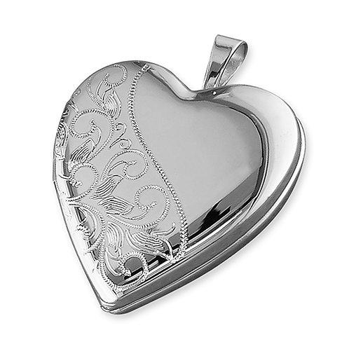 Silver Engraved Heart Locket