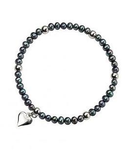 Black Freshwater Peacock Pearl & Silver Heart Bracelet