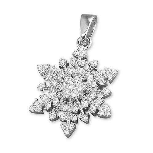 Silver Vintage Style Snowflake Pendant Necklace