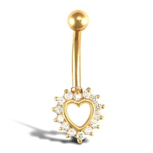 9ct Gold CZ Heart Belly Bar