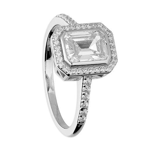 Asscher Cut CZ Halo Ring