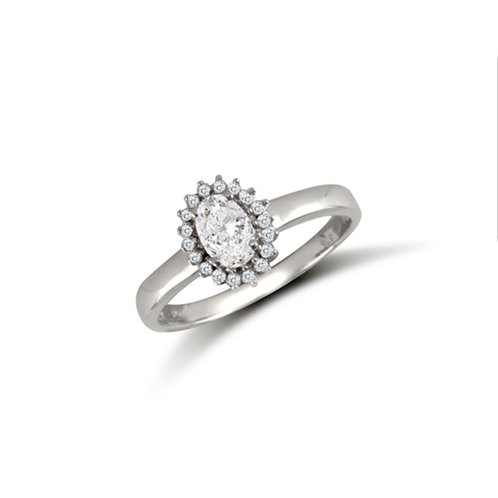 9ct White Gold CZ Oval Cluster Ring