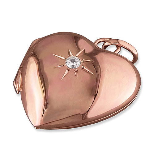 9ct Rose Gold Plated Silver CZ Heart Locket