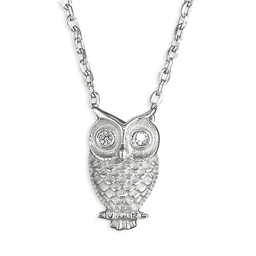 Silver Owl CZ Necklace