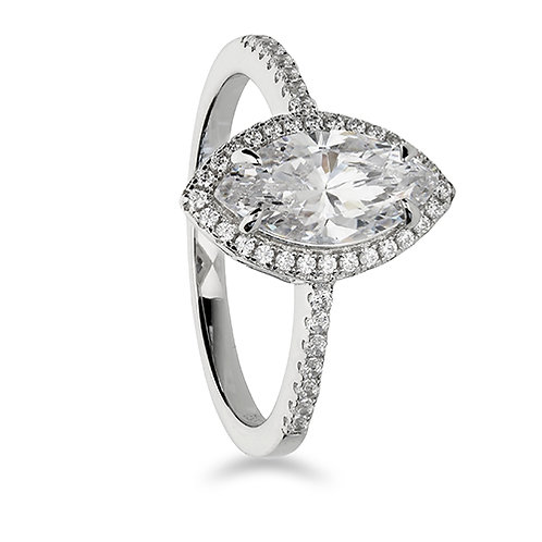 SilverR Marquis CZ Halo Ring