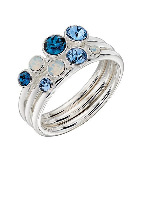 Swarovski Montana, light sapphire and Opal stacker ring
