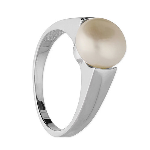 Silver Pearl Solitaire Ring
