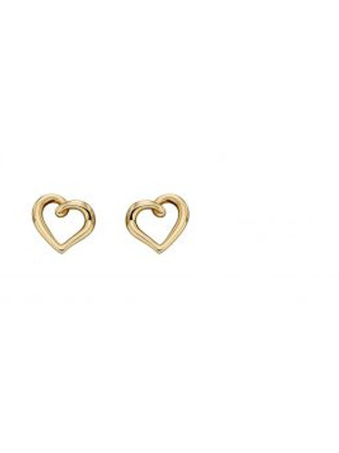 9ct Yellow Gold Heart Outline Stud Earrings