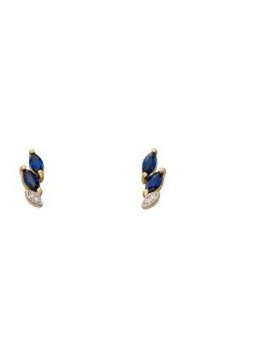 9ct Yellow Gold Sapphire & Diamond Leaf Vine Stud Earrings