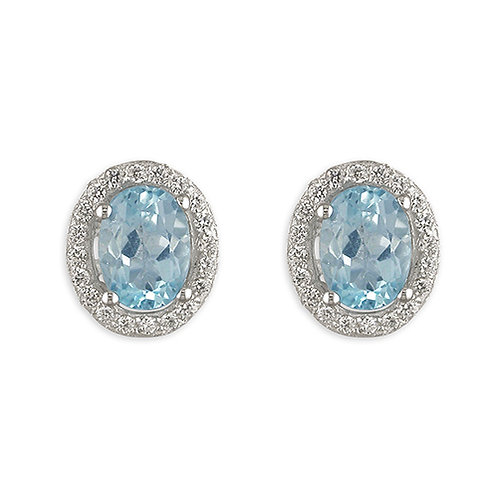Oval Blue Topaz Halo Stud Earrings