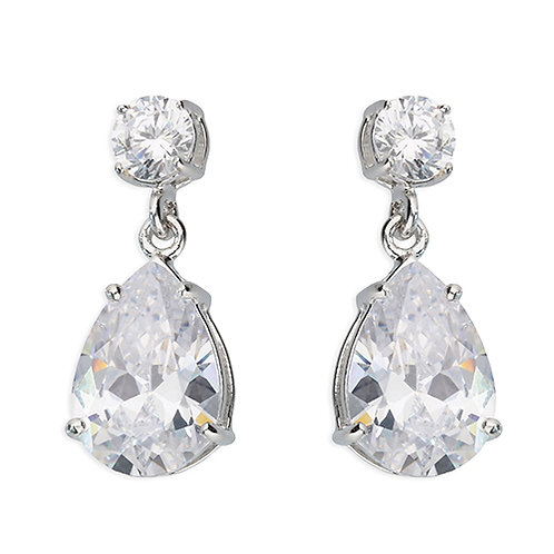 Silver Pear Cut Cubic Zirconia Drop Earrings