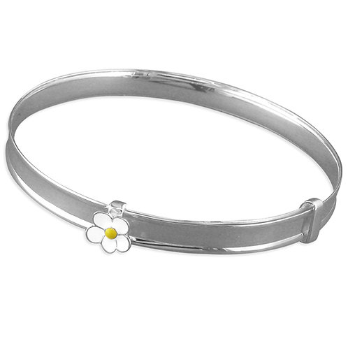 Childs / Baby Silver Daisy Expanding Bangle