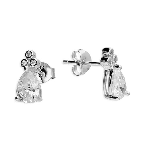 Silver Pear Cut Cubic Zirconia Stud Earrings