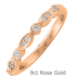 9ct Rose Gold 2.7mm Shaped Vintage Style Diamond Wedding Ring