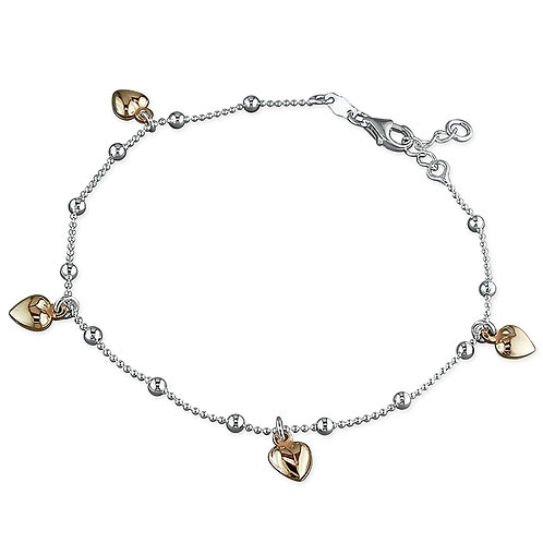 Anklet with rose gold hearts
