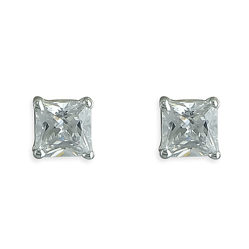 Silver 5mm Princess Cut Square CZ Stud Earrings