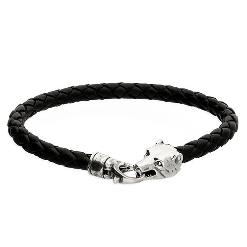 Silver & Black Leather Bear Bracelet
