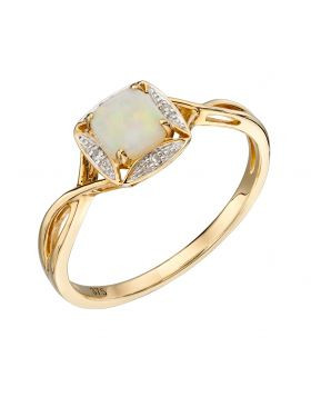 gold cushion cut opal and diamond ring
