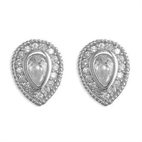 Silver Vintage Pear Cubic Zirconia Halo Stud Earrings