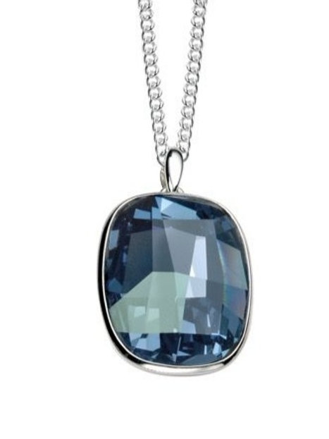 Swarovski crystal in Denim Blue silver pendant necklace