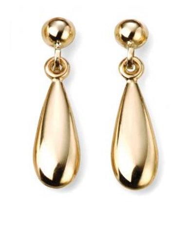 9ct Yellow Gold Shiny Drop Earrings