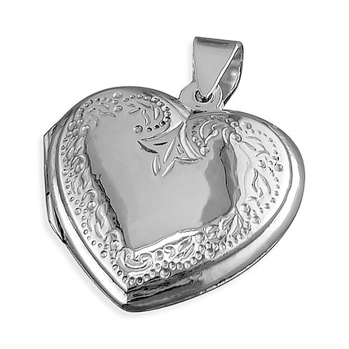 Silver Heart Engraved Locket