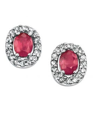 9ct White Gold Ruby & Diamond Halo Stud Earrings