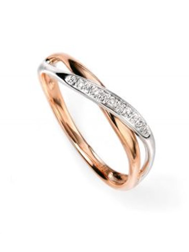 9ct Gold Two Tone Diamond Twist Ring