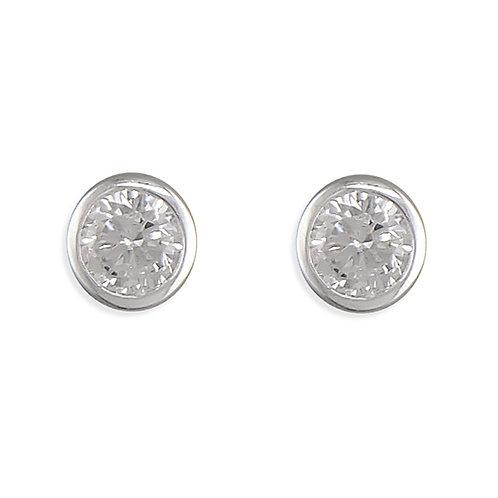 April Birthstone Diamond CZ Stud Earrings