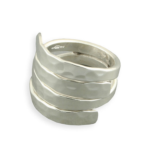 Silver Double Hammered Overlap Ring