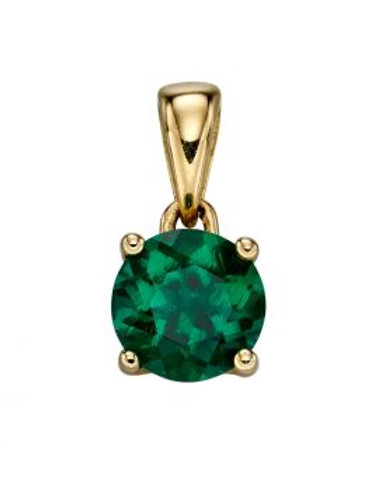 9ct Yellow Gold Emerald Birthstone Pendant