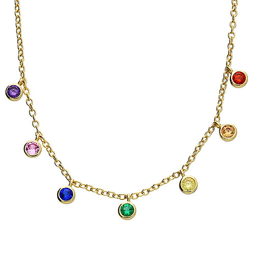 Silver Necklace yellow gold-plated rainbow cz