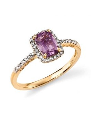 9ct Gold Amethyst & Diamond Halo Ring