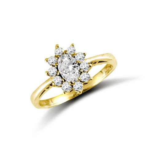 9ct Yellow Gold Oval CZ Cluster Ring