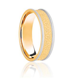 Men's 9ct Yellow & White Gold Celtic Two Tone Wedding Ring