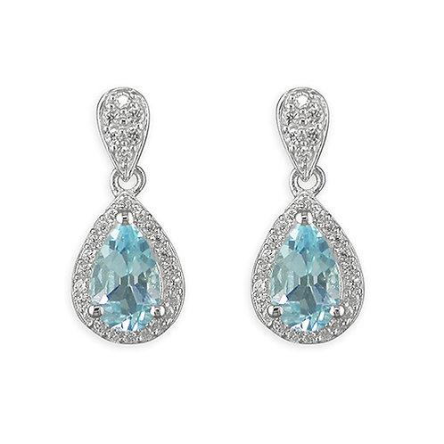 Blue Topaz Pear Drop Earrings