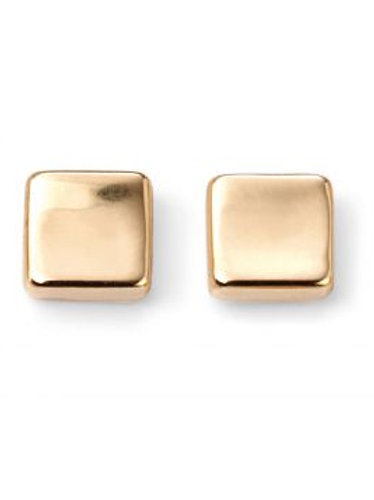 9ct Yellow Gold Square Plain Stud Earrings