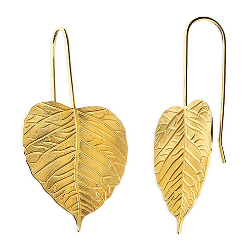Gold Plated Silver Large Leaf Drop Earrings