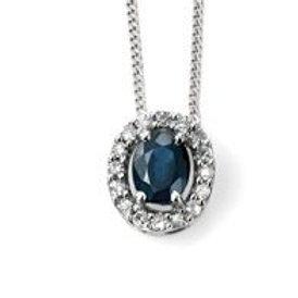 9ct White Gold Sapphire & Diamond Halo Pendant Necklace