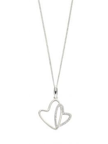 Silver Double CZ Heart Necklace