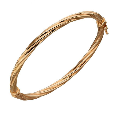 9ct Yellow Gold Twist Hinged Bangle