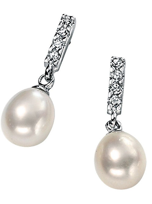 Freshwater pearl and cubic zirconia small drop earrings