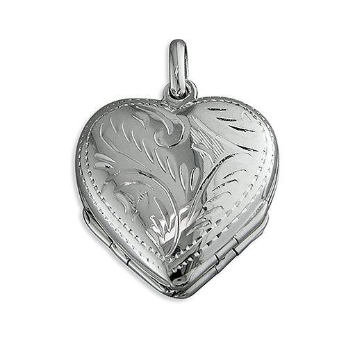 Silver Engraved Heart 4 Way Locket