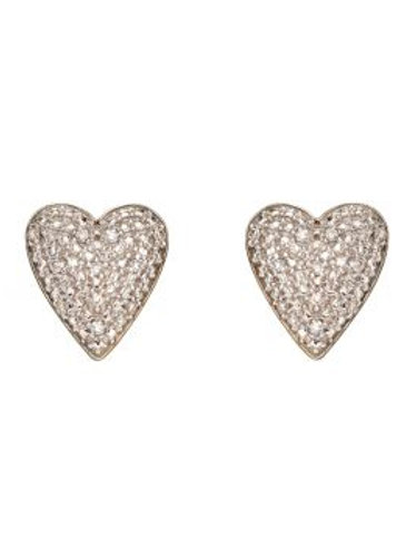 9ct Yellow Gold Pave Diamond Heart Stud Earrings