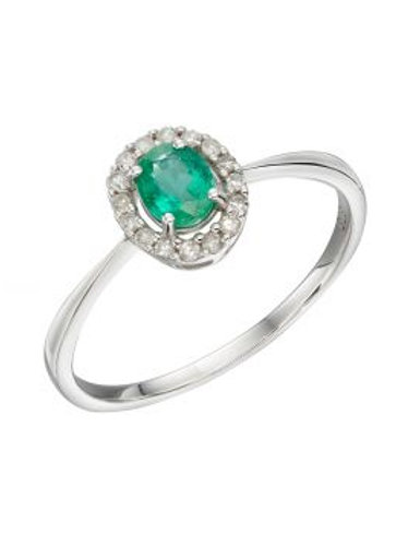 9ct White Gold Oval Emerald & Diamond Cluster Ring