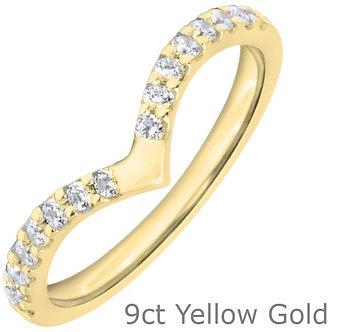 9ct Yellow Gold 2mm Shaped Diamond Wedding Ring