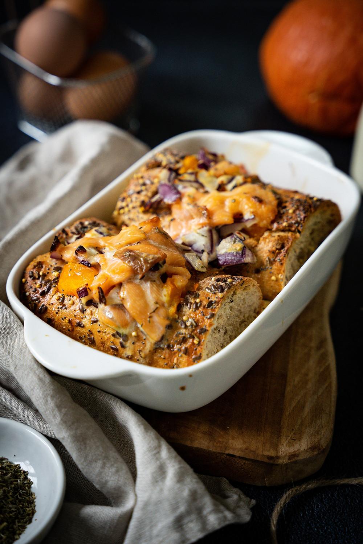 Baguette d'automne farcie (courge, comté, saumon)